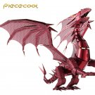 Limited Edition Piececool 3D Metal Puzzle Dragon Flame P071R DIY 3D Laser Cut Toys - Red