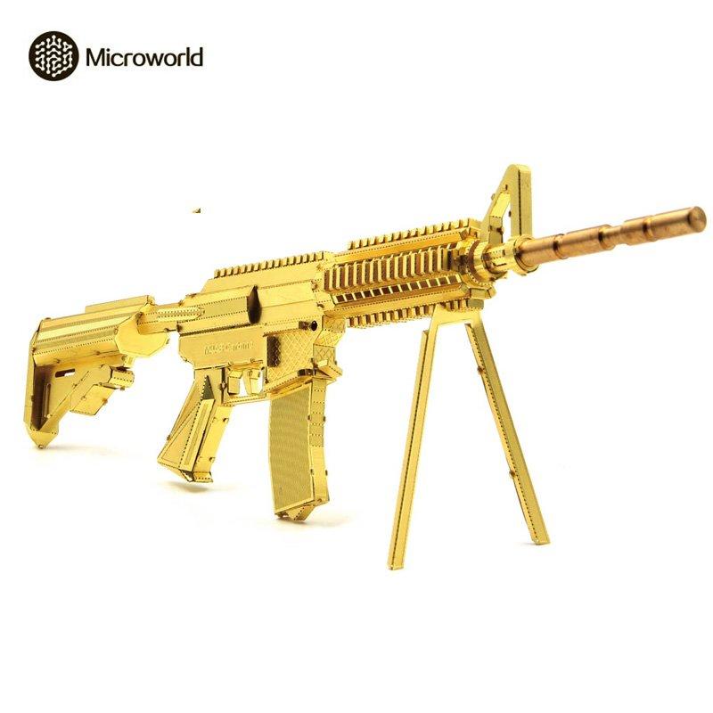 Microworld 3D Metal Puzzle 21CM M4A8 Carbine Gun Model Kit DIY 3D Laser Cut Assemble Jigsaw Toys