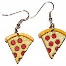 Pizza Slice Shaped Plastic Fast Food Dangle Earrings