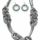 Silvertone Chunky Circles Necklace with Matching Earrings Set Fashion Novelty Jewelry