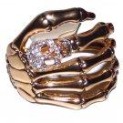 Skeleton Hand Bracelet with Rhinestone Skull Ring on the Finger