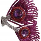 Pink Peacock Feather Bracelet with Rhinestone