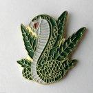 Snake Cobra And Bud Pot Leaves Animal Lapel Pin Badge 1 Inch