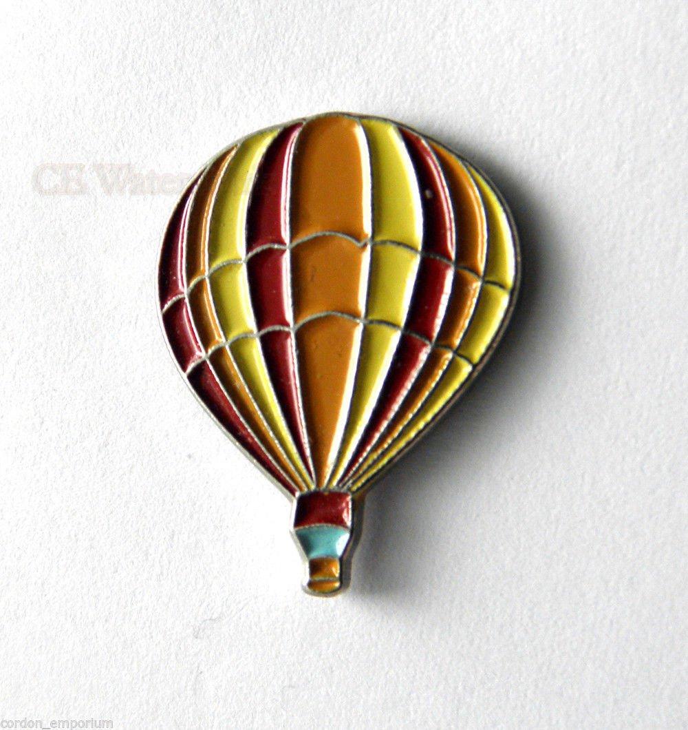 Red Orange Striped Hot Air Balloon Lapel Pin Badge 1 Inch