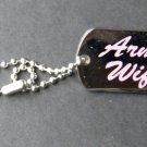 Army Wife Dog Tag Style Small Lapel Pin Badge 1 Inch USA