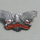 Bad To The Bone Skull Eagle Motorcycle Biker Lapel Pin 1 Inch