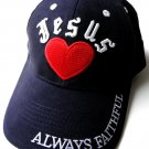 I Heart Jesus Love Always Faithful Emblem Logo Baseball Cap Hat