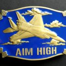 USAF Air Force Aim High Belt Buckle 3.4 Inches Metal Enamel