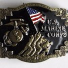 Pewter Enamel U.S. Marine Corps Iwo Jima Logo Military Belt Buckle 3 Inches