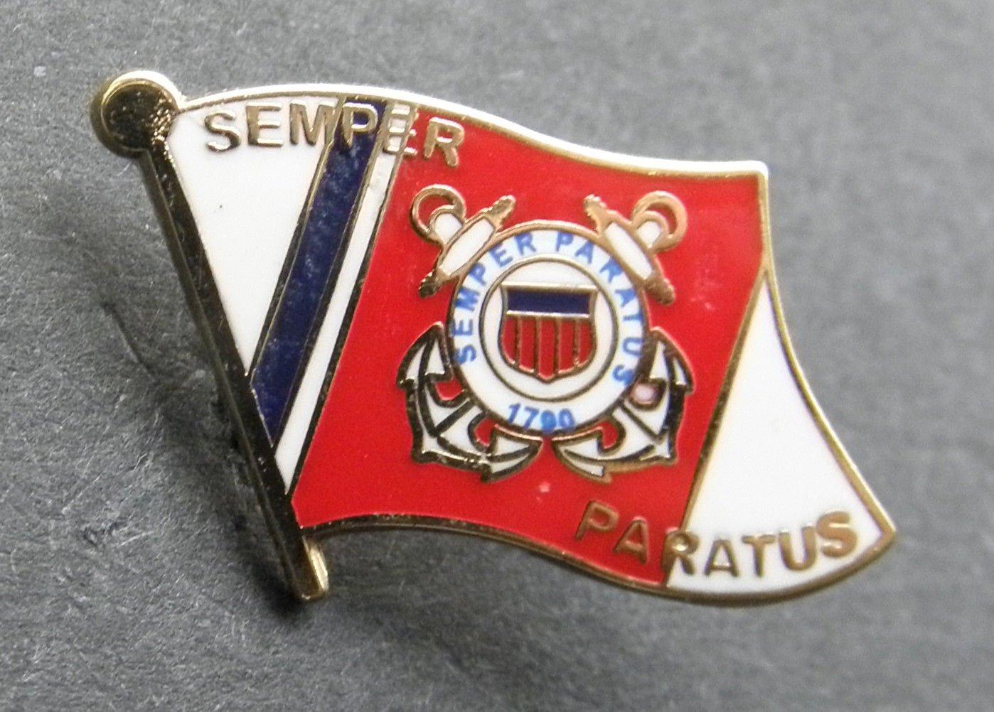 US Coast Guard Semper Paratus Flag Lapel Pin Badge 7/8 Inch