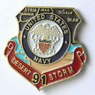 Desert Storm 1991 Navy Veteran United States USN Shield Lapel Pin Badge 1 Inch