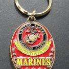 Marine Corps USMC Marines Keyring Key Chain Ring Keychain 1.5 Inches Embossed US