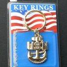 USN US Navy Anchor Keyring Keychain Key Chain Ring 1.75 Inches