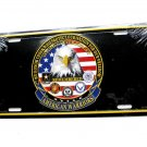 American Warriors Army USAF USMC USN USA Remembers License Plate 6 X 12 Inches