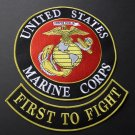 USMC Marine Corps Marines First To Fight Embroidered 2 Patch Set 10 Inches