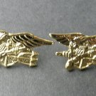 Seal Team Gold Colored Set Of 2 Trident Lapel Pin Badge 1.1 Inches USN US Navy
