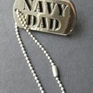 US Navy Dad USN Military Small Dog Tag Mini Chain Style Lapel Pin Badge 1 Inch