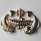 Deep Sea Sub Submarine Wreath Gold Colored Fish Lapel Pin Badge 1.3 Inches