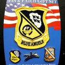 US Navy Blue Angels 3 Pin And 1 Patch Gift Set Of Lapel Pins