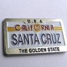 US California The Golden State Santa Cruz License Plate Pin Badge 1.2 Inches