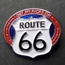 I Get My Kicks On Route 66 USA United States Of America Lapel Hat Pin Badge 1 In