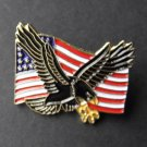 United States Flag And Eagle Logo Emblem Lapel Pin 1 Inch
