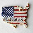 USA America The Greatest Flag Map Lapel Pin Badge 1.2 Inches