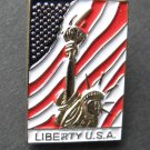 Statue Of Liberty USA Flag United States Lapel Pin Badge 1 Inch