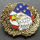 USA Eagle Flag Wreath Lapel Pin Approximately 1.1 Inches