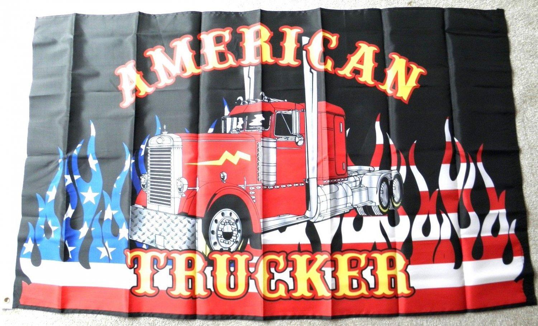 American Trucker USA Flag Rig Semi Polyester Flag 3 X 5 Feet
