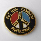 Vietnam Lapel Pin Peace Sign War Games Participant Laos Cambodia 1 Inch
