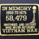 Vietnam Veteran Embroidered In Memory Patch 4.25 X 3.25 Inches
