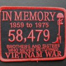 Vietnam Veteran In Memory Embroidered Red Patch 4.25 X 3.25 Inches