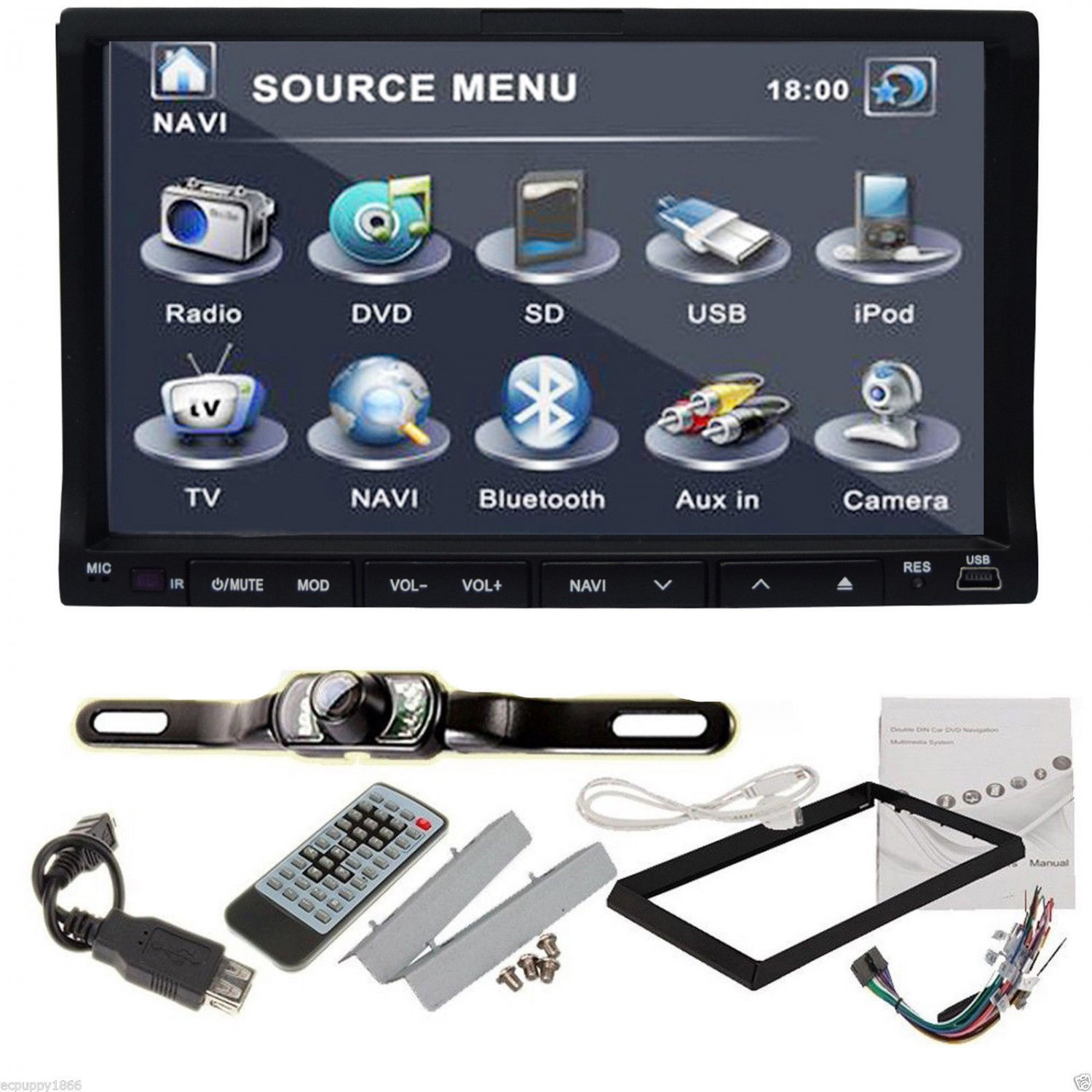 "Camera+Double 2 Din 7"" In Dash Stereo Car DVD Player Bluetooth Radio iPod SD TV"