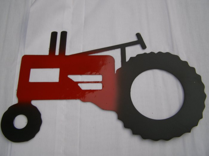 Metal Tractor art Red