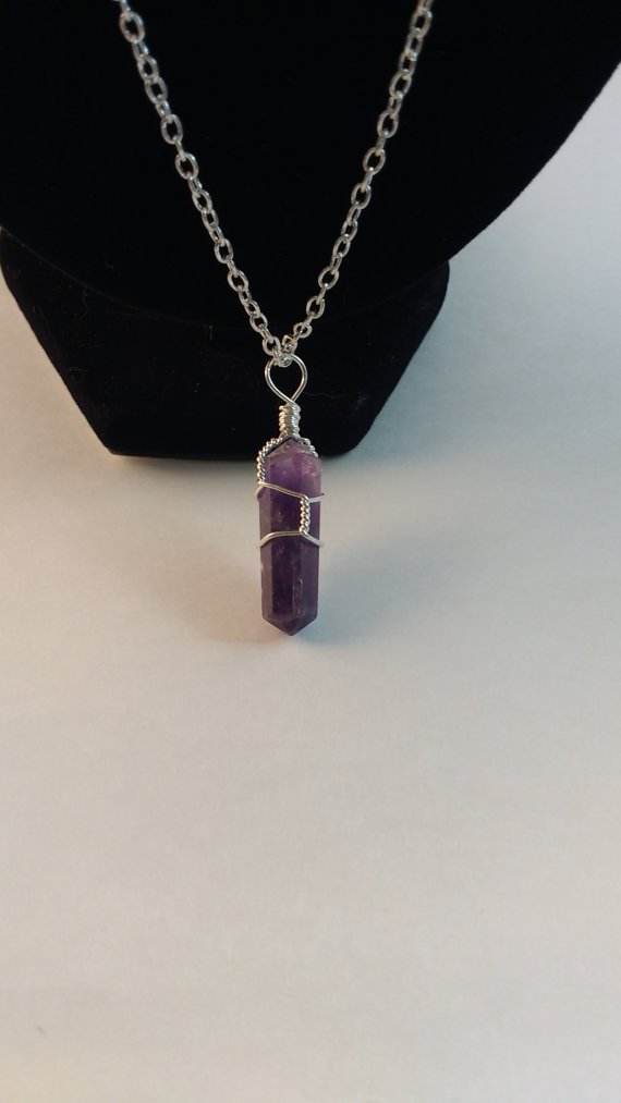 Handmade Amethyst Wire Wrapped Point Necklace