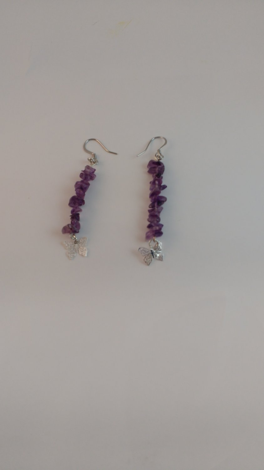 Handmade Amethyst Dangle with Butterfly Charm Earring and Stainless Steel Ear Hook