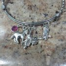 Handmade Country Theme Adjustable Bangle, Horse, Saddle, Boot, Swarovski Birthstone Charm Bracelet