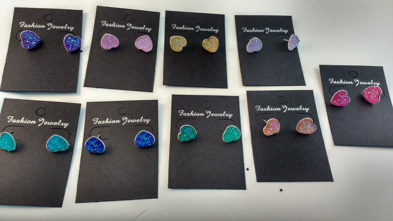 Handmade 12mm AB Faux druzy, heart shape, Silver tone 12mm heart tray cabochon earring setting