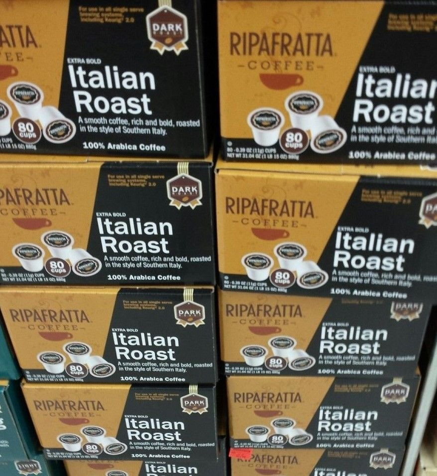 Ripafratta Italian Roast Coffee Single Serve K-cup, 80 Count NEW