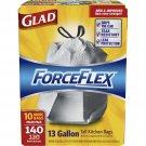 Glad Force Flex Drawstring Tall Kitchen Bags 13g, 140 ct. NEW