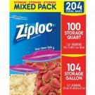 Ziploc Mixed Storage Pack, 204 ct