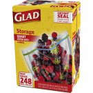 Glad Storage 1-Qt. Plastic Zipper Bags, 62-Count, 4-Pk  BRAND NEW