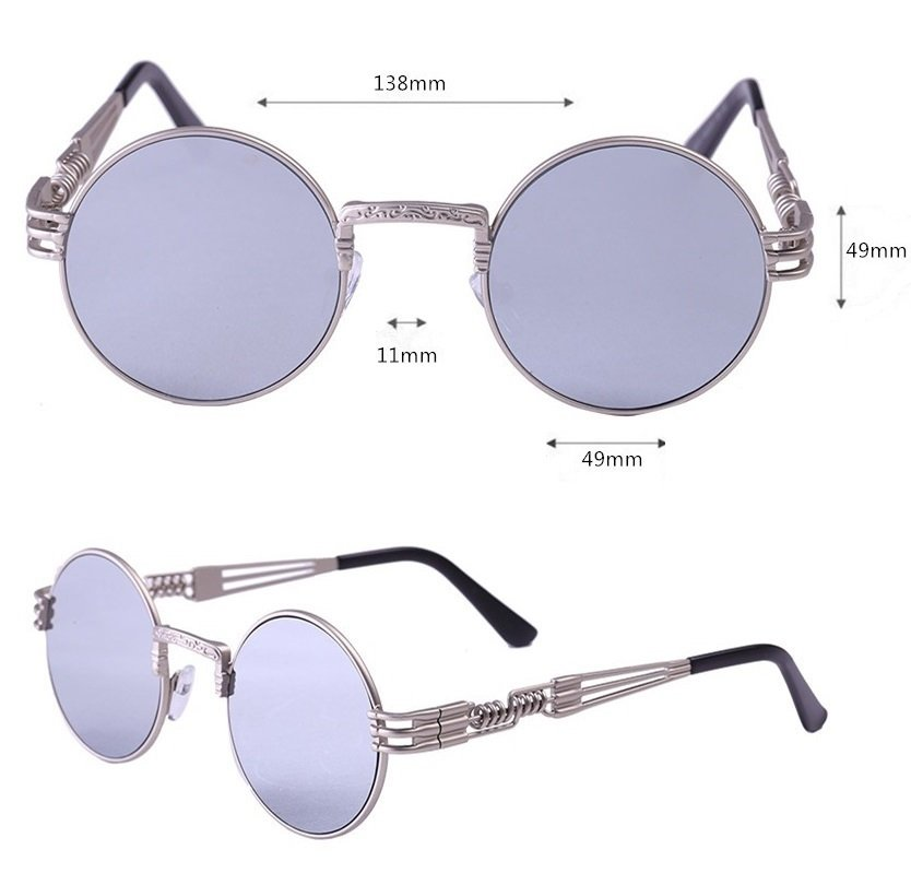 new 2016 round sunglasses silver mirror lens