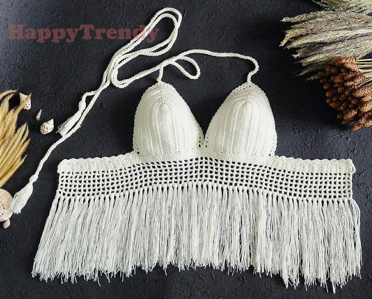 ST004 Crochet Bikini top, DIY Bikini, Handmade Bikini top - FREE SHIPPING