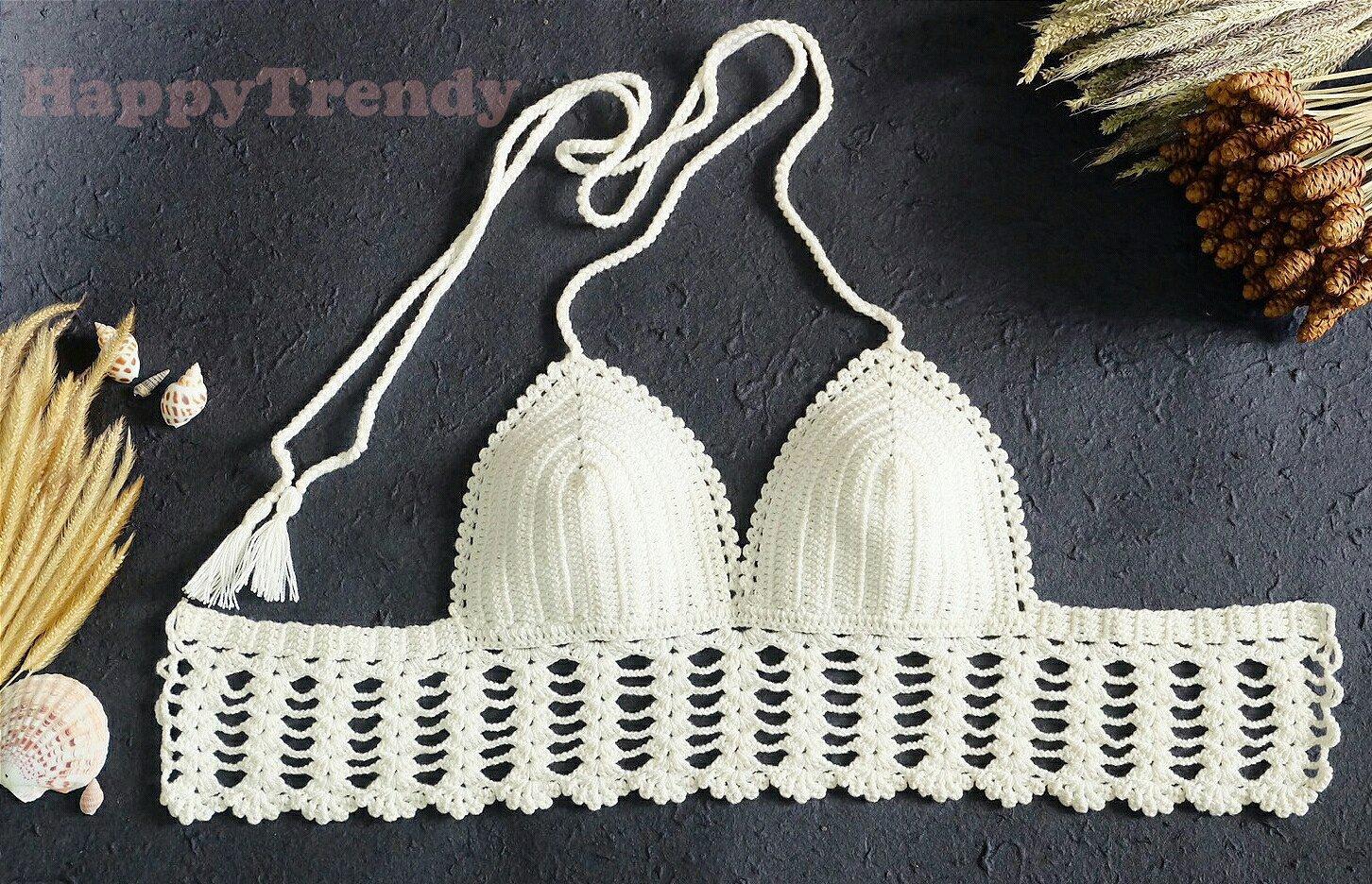 ST013 Crochet Bikini top, DIY Bikini, Handmade Bikini top - FREE SHIPPING