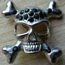 Black Onyx Style Skull And Crossbones Pin Brooch