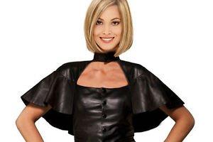 Genuine Leather Women Saints Lambskin Cape Royal Queen Domina Mistress Black Hot