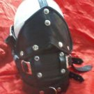 REAL LEATHER MASK BLIND FOLD MOUTH GAG leder HOOD SLAVE KINK CUIR halloween neck