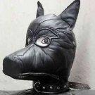 Real leather DOG mask leder hood gimp cuir mask slave restraint halloween Puppy